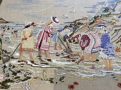 Vintage Hand Embroidered Picture, Edwardian Seaside Scene, Mounted On Board