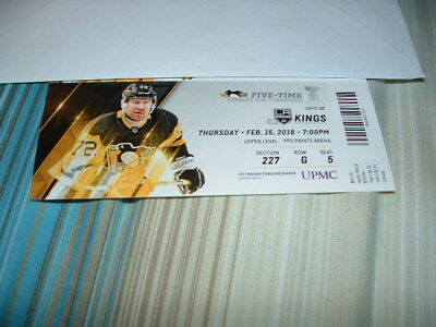 1 PITTSBURGH PENGUINS STH TICKET STUB 2/15/2018 VS LOS ANGELES KINGS hornqvist