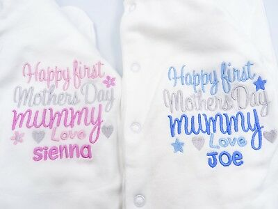 Personalised Embroidered  HAPPY FIRST MOTHERS DAY love *NAME* BABY BIB GROW VEST