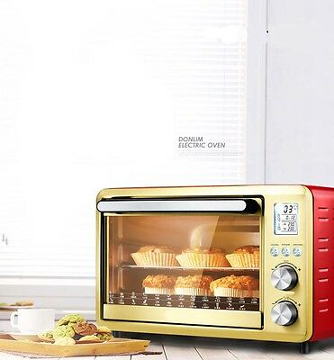 30L Commercial Home Red+Gold Multi-function Heating Benchtop Electric Oven *