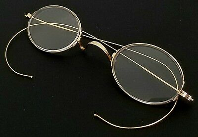 ANTIQUE 19th CENTURY VICTORIAN 14K SOLID YELLOW GOLD SPECTACLE EYEGLASSES
