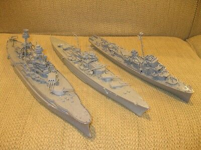 Vintage LOT of 3 WWII Battleships/Cruisers: Built, Unpainted: VNICE!