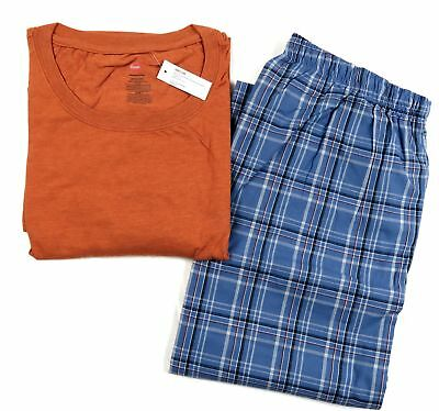 Big Men's Hanes 2-pc Set Sleepwear Short Sleeve Tee Shirt Lounge Pants Pajamas