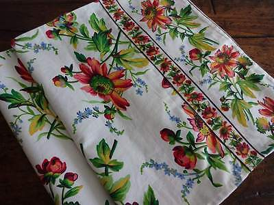April Cornell Red Green Gold Daisy Fl Cotton Table Runner 17x90 Coneflower