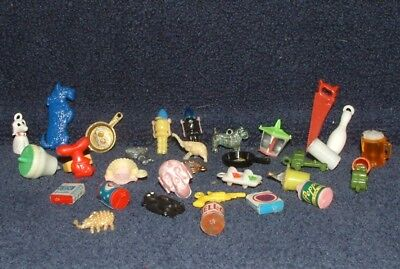 Vintage 30 Plastic Cracker Jack Gum Ball Machine Prizes and Charms USED