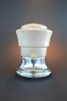 Original Art Deco chrome and frosted glass porch light flush mount lamp
