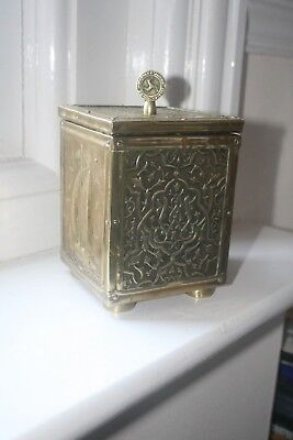 Lovely  Art and Crafts  Brass hammered Tea Caddy Isle of Man