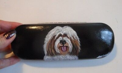 Tibetan Terrier Dog Hand Painted Eyeglass case faux Leather