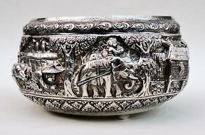 INDIAN SILVER BOWL Antique 462g ELEPHANT & VILLAGERS c1875