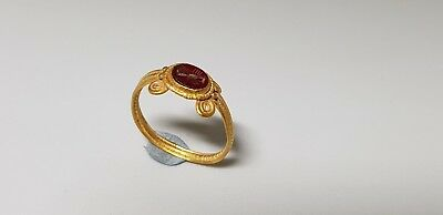 Roman Gold Ring with Red Intaglio  1st-3rd c. AD