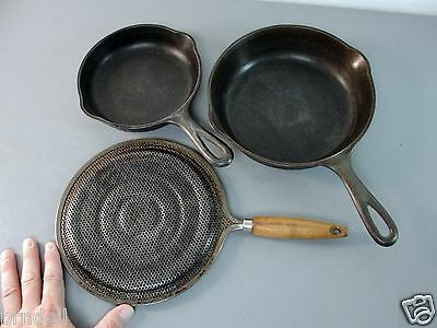 """Hammered Antique Cast Iron Cookware Lot 8"""" 6"""" Frying Pan Skillet Heat Diffuser"""