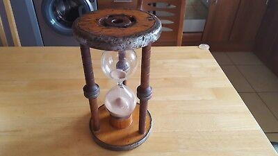 Vintage Antique Wooden and Metal Nautical Hourglass Sand Timer.