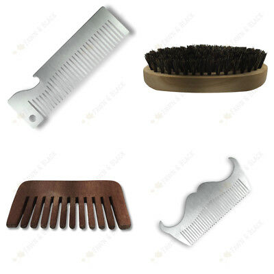 Mens Beard Moustache Comb Stainless Steel Wood Boar Bristle Brush Grooming Tools
