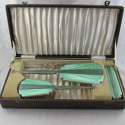 Wonderful Art Deco Silver And Enamel Dressing Table Vanity Set Brush Mirror 1937
