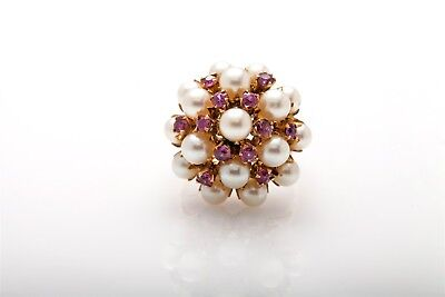 Antique 1950s Cultured 6mm Pearl 1.50ct Natural RUBY 14k Gold Cluster Ring
