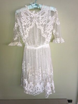 Antique Victorian Off White Lace Embroidered Girls Tea Lace Dress ~ love needed
