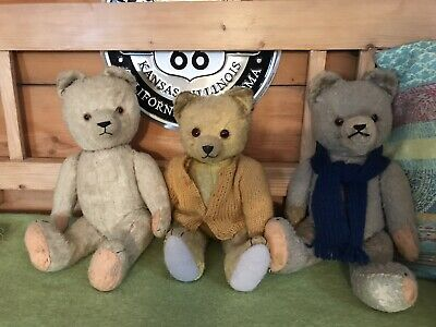 Konvolut Teddybären 3 Freunde -Old Teddy Bears - Mohair, Glasaugen Music antique