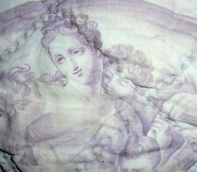 BEAUTIFUL FRAGMENT 19th CENTURY FRENCH QUILTED TOILE DE JOUY c1840