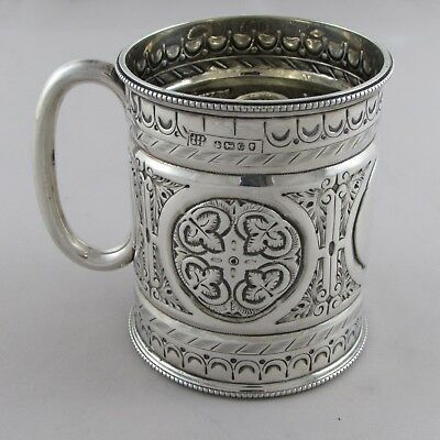 SUPERB ANTIQUE VICTORIAN ENGLISH SOLID SILVER MUG CHRISTENING CUP 1870 129 g
