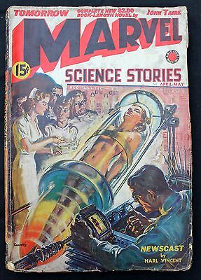 Marvel Science Stories 4 a gd+ 1939 US 15c Pulp Mag. forerunner of Marvel Comics
