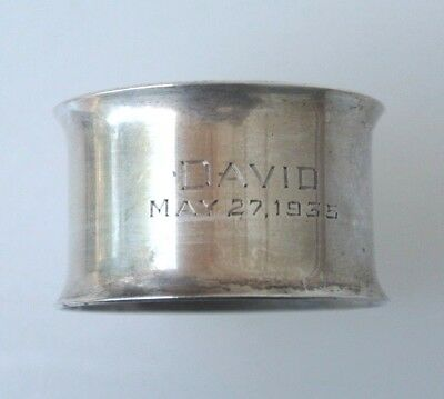 """Vintage Towle Sterling Silver Round Napkin Ring """"David"""""""