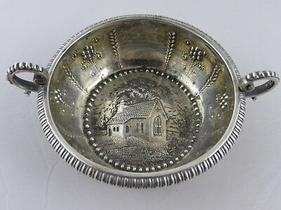 Rare Antique Georgian English Silver Dish Wine Taster Cup Embossed Church