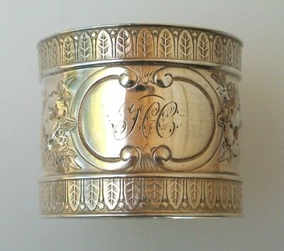 Antique American Coin Silver Ornate Repousse Floral Napkin Ring