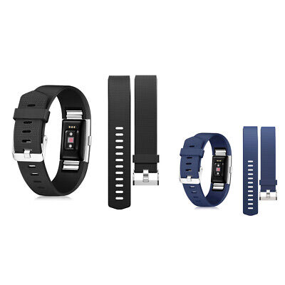2-pack Wristband Strap Band w/Metal Buckle for Fitbit Charge 2 (Black+Dark Blue)
