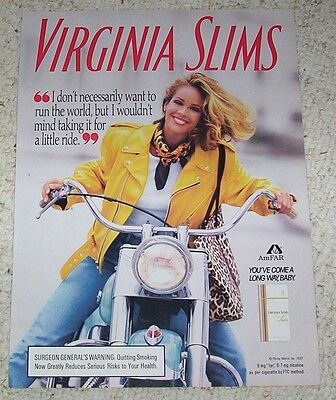 1992 ad page - Virginia Slims cigarettes Cute sexy girl smile motorcycle smoking