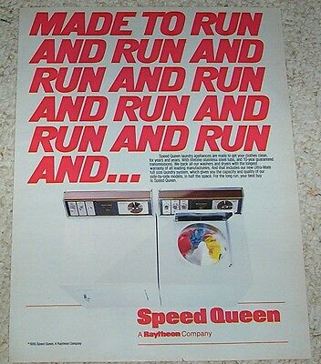 1985 ad page -Speed Queen laundry washer dryer Raytheon Company vintage PRINT AD