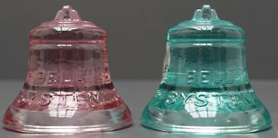 Lot 2 Fenton Telephone Pioneers Bell Atlantic Glass Paperweight Pink Green