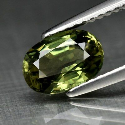 1.73ct 8x5.6mm Oval Natural Yellowish Green Sapphire Ceylon, Heated Only