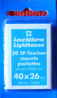 LIGHTHOUSE STAMP MOUNTS BLACK Pack of 50 Individual 40mm x 26mm - Ref. No. 73402