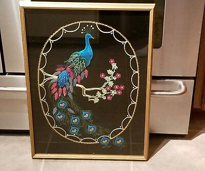 """Hand Embroidered Beaded Framed 17 3/4"""" X 24"""" Peacock Portrait"""