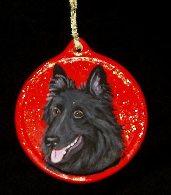 Belgian Sheepdog Shepherd Dog Hand Painted Ceramic Christmas Ornament Decoration