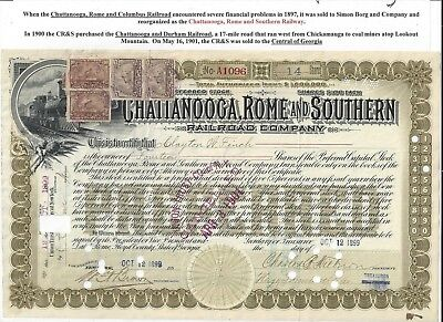 Stk-Chattanooga, Rome & Southern RR 1899 Olive Preferred  Central of GA