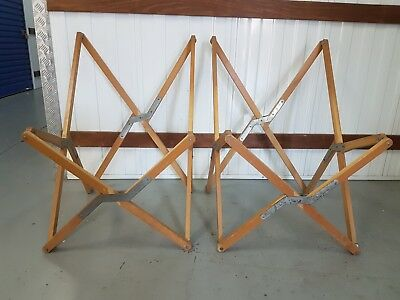 2 Vintage Mid Century Wooden Campaign Tripolina Design Folding Butterfly Chairs