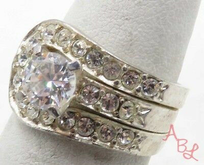 Sterling Silver Vintage 925 White Stone Guard With Ring Sz 6 (6.9g) - 712333