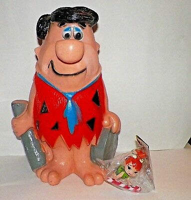 "VINTAGE  13"" Tall  FRED FLINSTONE Bank & PEBBLES Christmas Ornament 70's"