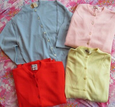 SWELL Vintage 50s Womens 38-40 Orlon Acrylic Cardigan Sweater LOT 4 Pearl Button