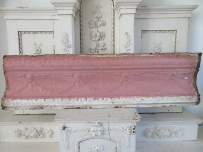 OMG Old ARCHITECTURAL PINK CEILING TIN 4 WINGED CHERUBS ANGELS Garlands 48""