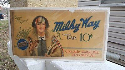 c1920s-30s Milky Way 10c Candy Bar Paper Sign..Great Image of College Girl