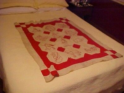 Vintage 1900s  REDWORK QUILT TOPw/ 12 PENNY SQUARES; PIGS, DOGS, ANIMALS