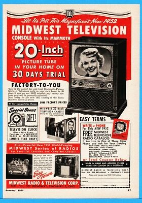 "1952 Midwest Radio & Television Corp Cincinnati OH 20"" Picture Tube Console Ad"