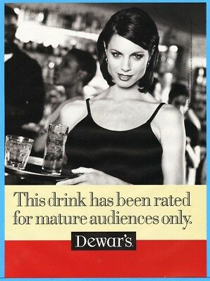 1997 Dewar's Scotch Rated For Mature Audiences Only Waitress Server Photo Ad