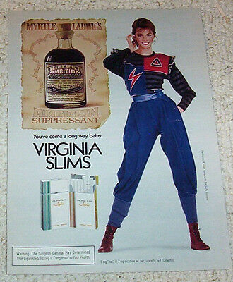 1982 print ad - Virginia Slims Cigarettes sexy girl smoking Myrtle Ladwig bottle