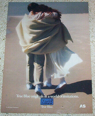 1988 ad page - KEDS True Blue label Sneakers shoes -girl guy beach- PRINT ADVERT