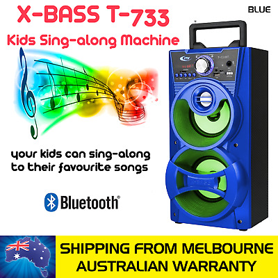 Blue Kids Sing-Along Extra Bass Portable Speaker With 1 Microphone, Bluetooth Co