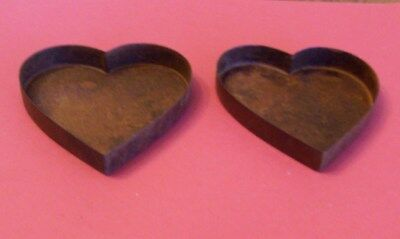 """(2) primitive rusty tin HEART SHAPED PANS--3-1/2"""" x x 1/2"""" deep~for crafting"""