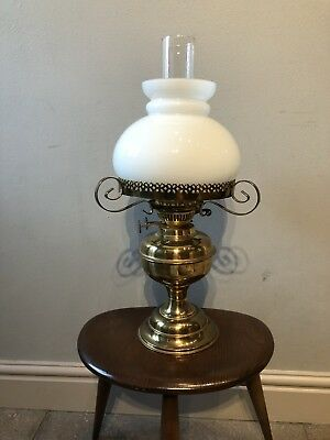antique/vintage brass oil lamp with White shade & chimney